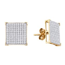 0.5 CTW Natural Diamond Square Cluster Earrings 10K Yellow Gold