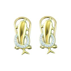 0.08 CTW Diamond Dolphin Fish Animal French-clip Earrings 10K Yellow Gold