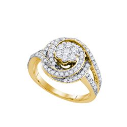 1 CTW Natural Diamond Flower Cluster Bridal Engagement Ring 10K Yellow Gold