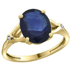 Natural 2.41 ctw Blue-sapphire & Diamond Engagement Ring 10K Yellow Gold - REF-85V2F