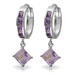 Genuine 3.8 ctw Amethyst Earrings Jewelry 14KT White Gold - REF-52P9H
