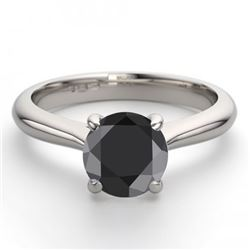 14K White Gold Jewelry 1.36 ctw Black Diamond Solitaire Ring - REF#93G2K-WJ13230