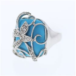 Antique Turquoise Ring w/ Diamonds in 18K White Gold - REF-94Y6X