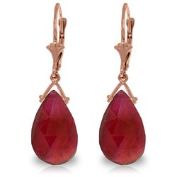 Genuine 16 ctw Ruby Earrings Jewelry 14KT Rose Gold - REF-85R2P