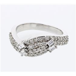 Baguette & Round Wavy Diamond Band in 18K White Gold - REF-126K5R