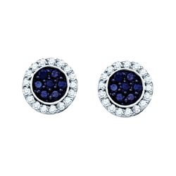 1 CTW Black Colored Natural Diamond Flower Cluster Screwback Earrings 10K White Gold