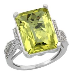 Natural 12.14 ctw Lemon-quartz & Diamond Engagement Ring 14K White Gold - REF-62Y2X