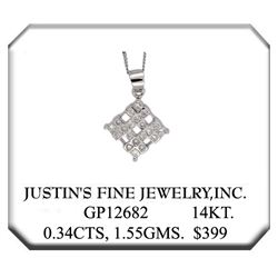 14K White Gold 0.35CTW Diamond Necklaces - REF-49F7M