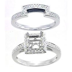 14K White Gold 0.35CTW Diamond Wedding Ring Set - REF-71K3R