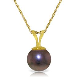 Genuine 2 ctw Black Pearl Necklace Jewelry 14KT Yellow Gold - REF-11Y8F