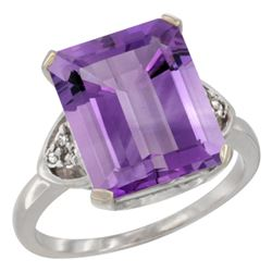 Natural 5.44 ctw amethyst & Diamond Engagement Ring 14K White Gold - REF-45V5F