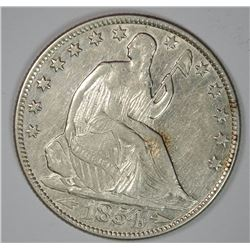 1854-O WITH ARROWS SEATED LIBERTY HALF DOLLAR, AU+