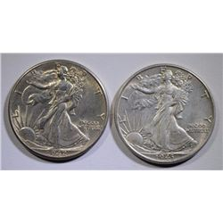 1942 & 1943 WALKING LIBERTY HALF DOLLARS, CHOICE BU+