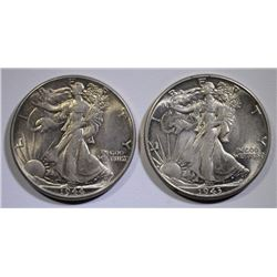 1943 & 1944 WALKING LIBERTY HALF DOLLARS, CHOICE BU