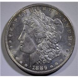 1886 MORGAN SILVER DOLLAR, CHOICE BU PL