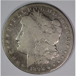 1892-CC MORGAN SILVER DOLLAR, VG