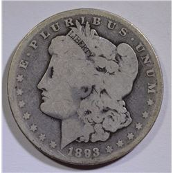 1893-CC MORGAN SILVER DOLLAR - GOOD KEY DATE