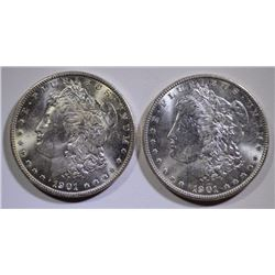 ( 2 ) 1901-O MORGAN SILVER DOLLARS, CHOICE BU  WHITE