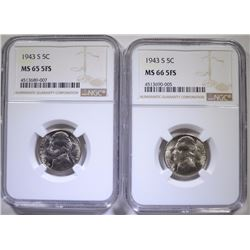 ( 2 ) 1943-S JEFFERSON NICKELS,  1-NGC MS-65 FS & 1-NGC MS-66 FS