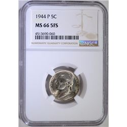 1944-P JEFFERSON NICKEL, NGC MS-66 FULL STEPS