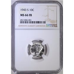 1943-S MERCURY DIME, NGC MS-66 FULL BANDS
