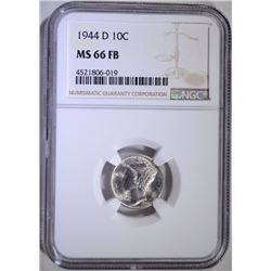 1944-D MERCURY DIME, NGC MS-66 FULL BANDS