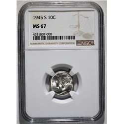 1945-S MERCURY DIME, NGC MS-67 SUPERB!