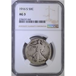 1916-S WALKING LIBERTY HALF NGC AG-3
