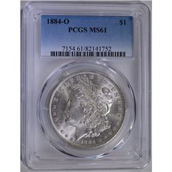 1884-O MORGAN SILVER DOLLAR PCGS MS-61
