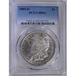 1885-O MORGAN SILVER DOLLAR PCGS MS-61