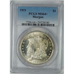 1921 MORGAN SILVER DOLLAR, PCGS MS-64+  WHITE