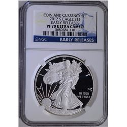 2012-S PROOF AMERICAN SILVER EAGLE, NGC PF-70 ULTRA CAMEO EARLY RELEASES