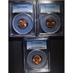 3 LINCOLN WHEAT CENTS: 1944, 1955-D & 1958-D PCGS MS-66 RED