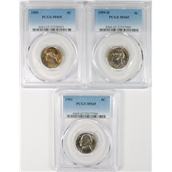 1959, 1959-D & 1961 JEFFERSON NICKELS, PCGS MS-65