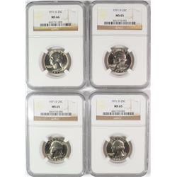 ( 4 ) NGC GRADED 1971-D WASHINGTON QUARTERS: 3- MS-65 & 1- MS-66