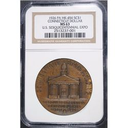 1926 PA HK-456 SO CALLED DOLLAR CONNECTICUT U.S. SESQUICENTENNIAL EXPO NGC MS 63
