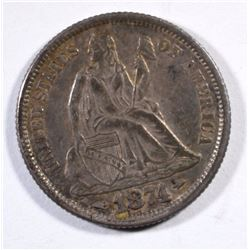 1874 SEATED LIBERTY DIME AU  TOUGH DATE