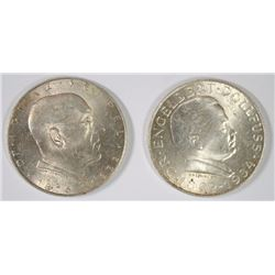 2 COIN LOT, 1934 AUSTRIA 2 SCHILLINGS, BU, 65% SILVER, .2469 OZ, KM#2852