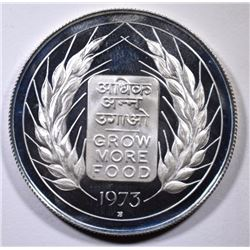 1973 India 10 Rupees,  PROOF,  Low Mintage, 50% Silver, .3617 ozt, KM#188