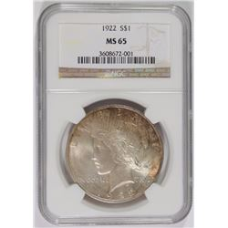 1922 PEACE SILVER DOLLAR, NGC MS-65