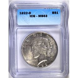 1922-D PEACE SILVER DOLLAR, ICG MS-63