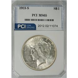 1923-S PEACE SILVER DOLLAR, PCI GEM BU