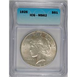 1926 PEACE SILVER DOLLAR, ICG MS-62