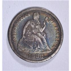 1888 SEATED LIBERTY DIME FINE, NICE TONE