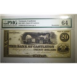 1850's $20 BANK of CASTLETON, VERMONT - PMG 64 HOLE CANCELLED