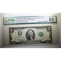 1976 $2 FEDERAL RESERVE NOTE NEW YORK PMG 63 EPQ MISALIGNMENT OVERPRINT ERROR