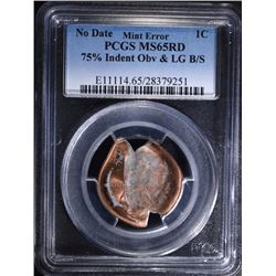 NO DATE MINT ERROR LINCOLN ONE CENT PCGS MS65 RED  AMAZING STRIKING ERROR