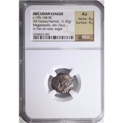 195-168 BC SILVER TRIOBOL ARCADIAN LEAGUE GREECE NGC AU 4/5 4/5