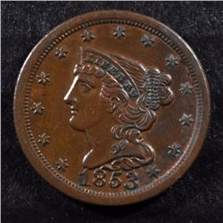 1853 BRAIDED HAIR HALF CENT CH BU