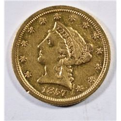 1857-S $2.50 GOLD LIBERTY AU  BETTER DATE